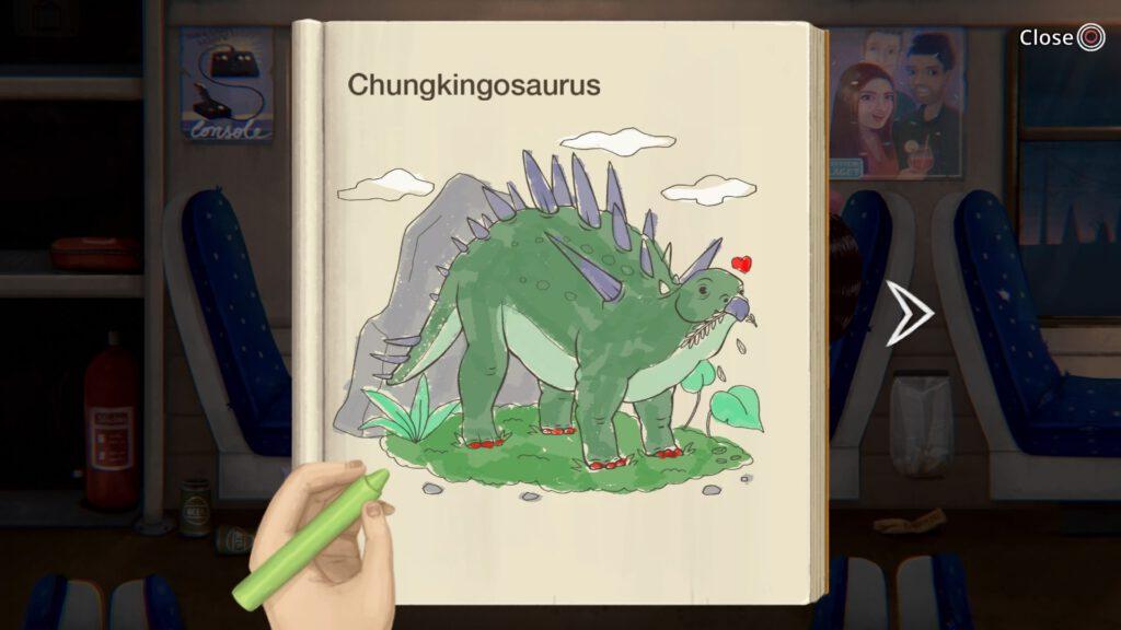 """Das erste Bild, das ihr ausmalen müsst, ein """"Chungkingosaurus. Der weiße Pfeil rechts zeigt an, dass das Bild bunt genug ist, um umzublättern."""